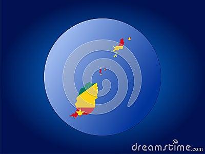 Grenada globe illustration