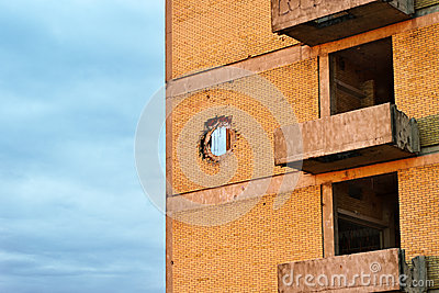 Grenade impact hole on the building