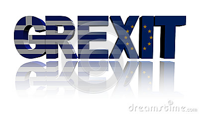 Grexit text with Greek and Eu flags