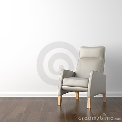 Grey armchair on white