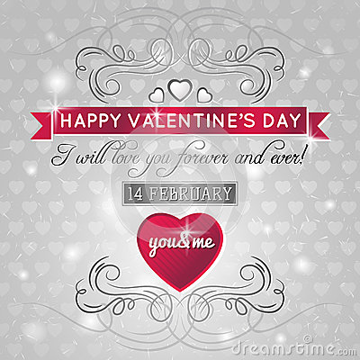 Grey background with red valentine heart and wishe
