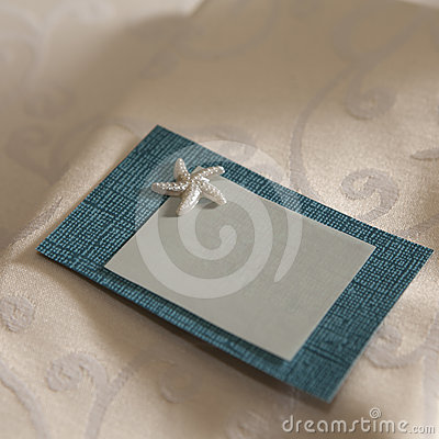 Grey and blue card with sea star