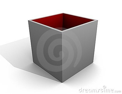 Grey Box Open / Red Inside / Empty Cover Blank