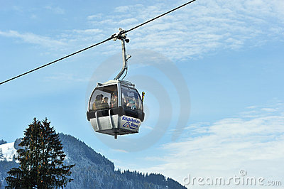 Grey cable cars in Eastern Alps in Kitzbuhel Editorial Stock Photo