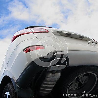 The grey car.