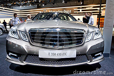 Grey car Mersedes E 350 Editorial Photography
