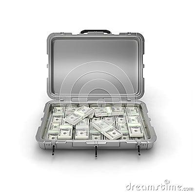 Grey case with money