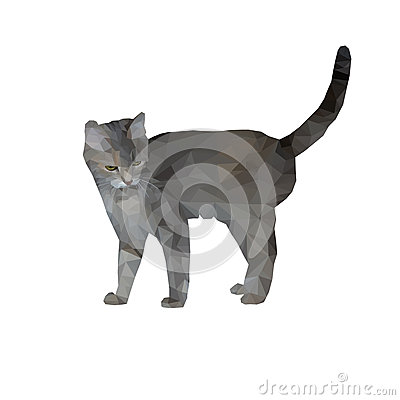 Free Grey Cat Animal Illustration Cartoon Polygon Drawing Feline Geometry Texture Abstraction Interest Glass Mosaic Isolated Pet Kitten Royalty Free Stock Image - 91005216
