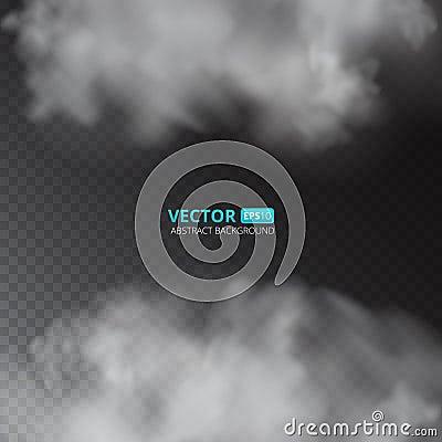 Grey color fog or smoke on transparent background. Vector Illustration