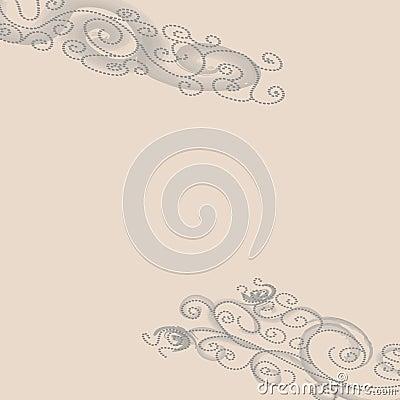 Grey dotted swirls on beige background
