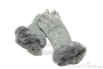 Grey elegant gloves