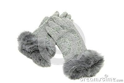 Grey elegant gloves