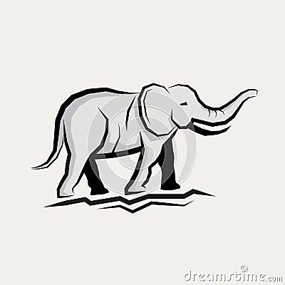 Grey Elephant Vector