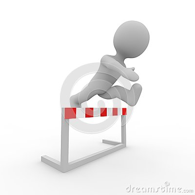 Grey figure jumping over a hurdle