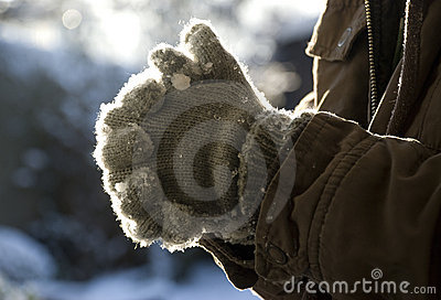 Grey gloves with snow in afternoon sunlight