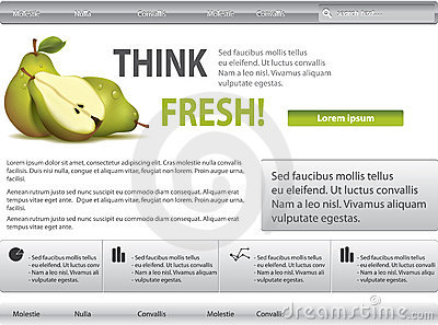 Grey-green website with pear