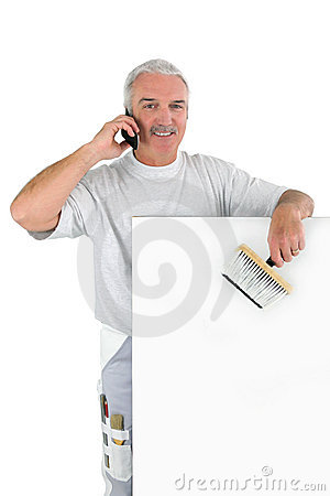 Grey-haired decorator