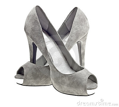 Grey High Heels Female Boot Isolated On White Stock Photo - Image