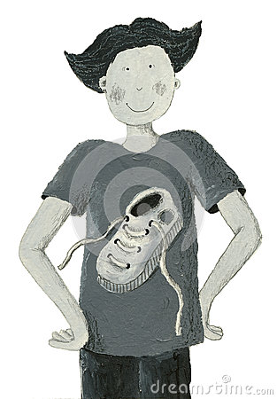 Grey illustration of boy