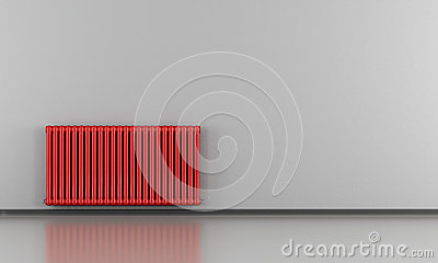Grey interior with red radiator