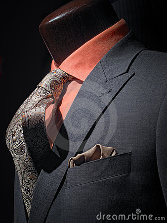 Grey jacket with orange shirt, tie & handkerchief