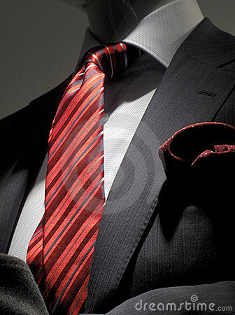 Grey jacket, red striped tie and handkerchief