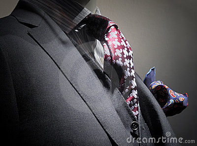 Grey jacket, vest, tie and handkerchief