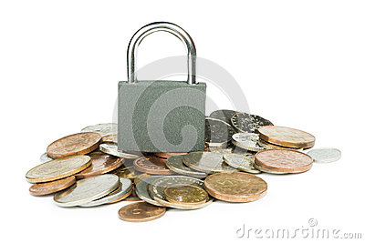 Grey locked padlock and coins