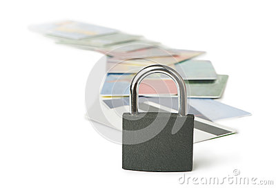 Grey locked padlock and credit cards.