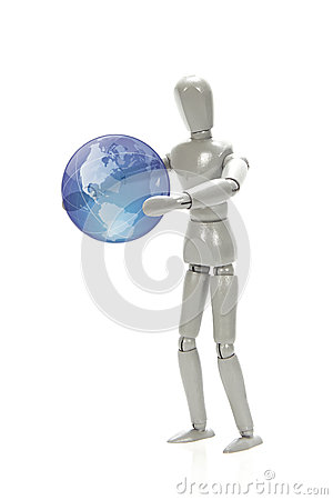 Grey mannequin holding a globe