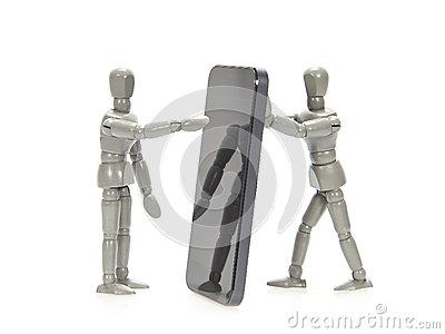 Grey mannequins holding smartphone