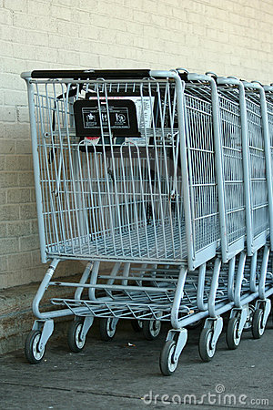 Grey metal shopping carts