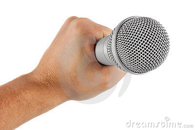Grey microphone in hand