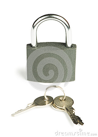 Grey padlock and keys