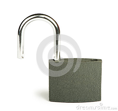 Grey padlock  studio shot