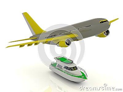 Grey passenger airliner gains altitude