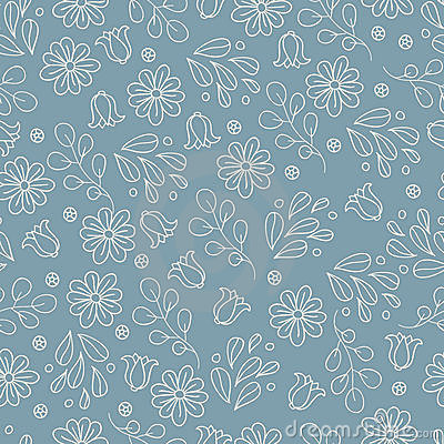 Grey pattern with flowers