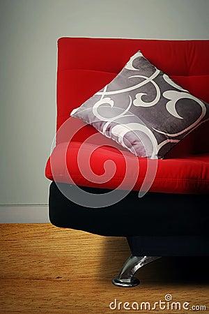 Grey pillow on sofa