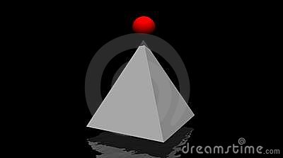 Grey pyramid and small red winning ball on it