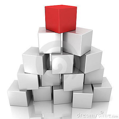 Grey and red block
