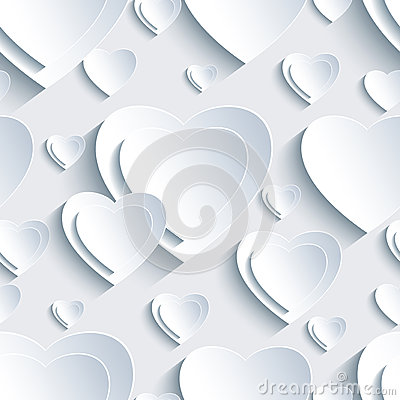 Free Grey Seamless Pattern With 3d Hearts For Day Valentine Stock Photo - 49693770