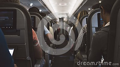Grey Seats Inside The Plane And Person Occupied Sitting Free Public Domain Cc0 Image
