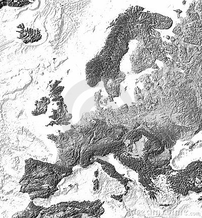 Grey shaded relief map of Europe