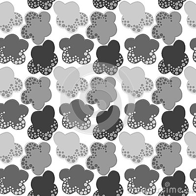 Grey Snow Clouds Seamless Pattern