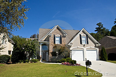 Stock photography of grey stucco and stone house a nice brick house - Grey Stucco And Stone House Stock Photography Image