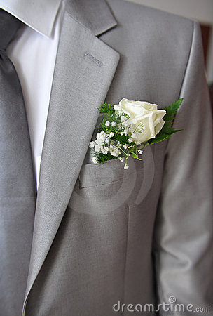 Grey suit of a groom