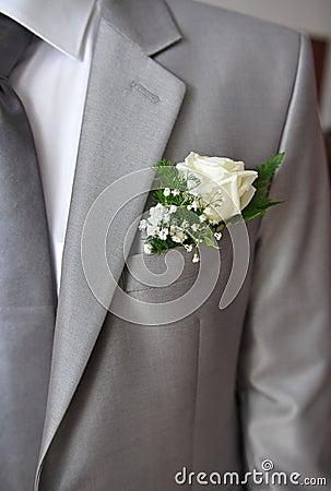 Grey suit of a groom