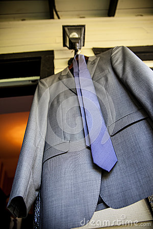 Grey Suit Jacket and Tie