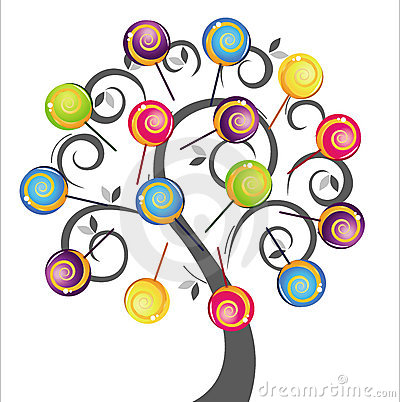 Grey tree with colorful delicious lollipop
