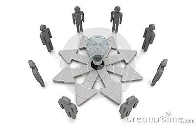 Grey umano di collegamento della lampadina di concetto di direzione di lavoro di squadra